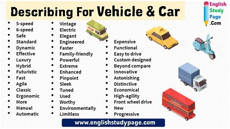 45 Describing Words For Vehicle & Car - English Study Page