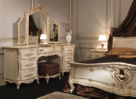 Classic Louis XVI bedroom, carved wood bed, dressing table